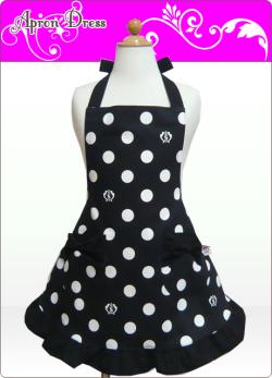 キッズエプロン・ふわり☆三角巾あり・なし選択(ブラック/ホワイトSCロゴ水玉)綿100%