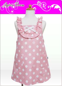 キッズエプロン・ラブリー☆三角巾あり・なし選択(ピンク/ホワイトSCロゴ水玉)綿100%