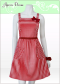 ボルドーレッドギンガムチェックのプレゼントに人気のエプロンドレス(赤いリボン、ポケット2つ、シュシュ付き)綿素材