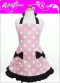 キッズエプロン・ふわり☆三角巾あり・なし選択(ピンク/ホワイトSCロゴ水玉)綿100%