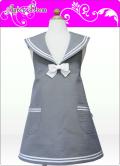 キッズエプロン・セーラー☆三角巾あり・なし選択付き(カラー/シルバーグレー)綿100%・ノーホルマリン加工