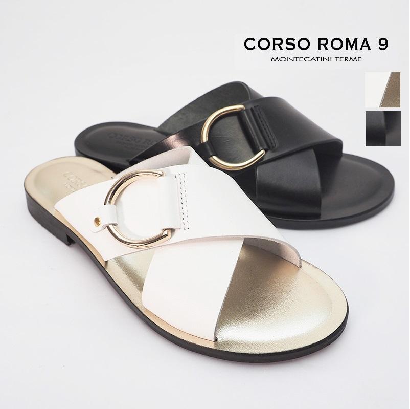 【定番サンダルポイント10倍】【20SS新作】CORSO ROMA9 コルソローマ クロスベルトレザーフラットサンダル 131(VITTELO)