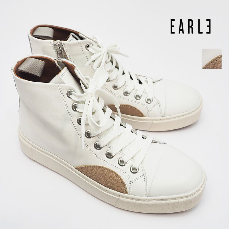 【20AW新作】EARLE アール ER0908  スムースレザー ハイカットレースアップジップスニーカー Classc lace-up sneakers W | 20AW シューズ 秋冬