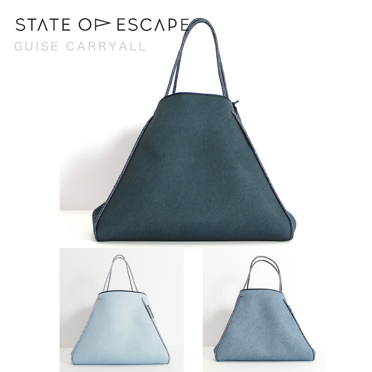 STATE OF ESCAPE ステイトオブエスケープ GUISE CARRYALL トートバッグ インディゴ ブルー ライトブルー |ジムバッグ ママバッグ 18SS/新作/送料無料