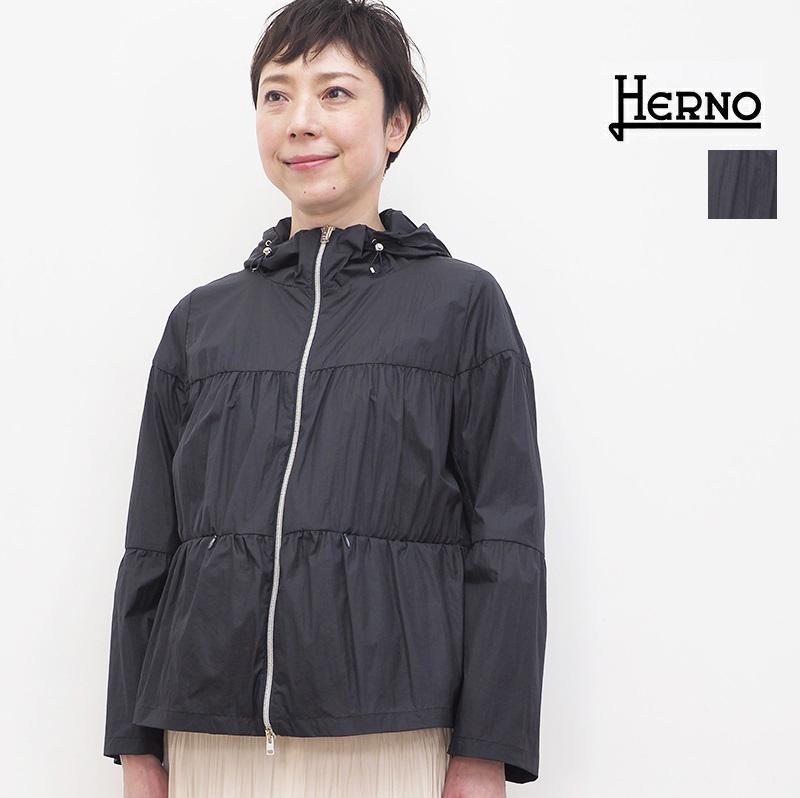【正規品】HERNO ヘルノ GI0127D ティアードフーディ―ジャケット 撥水 ウィンドブレーカー レインコート   アウター 春夏 21SS