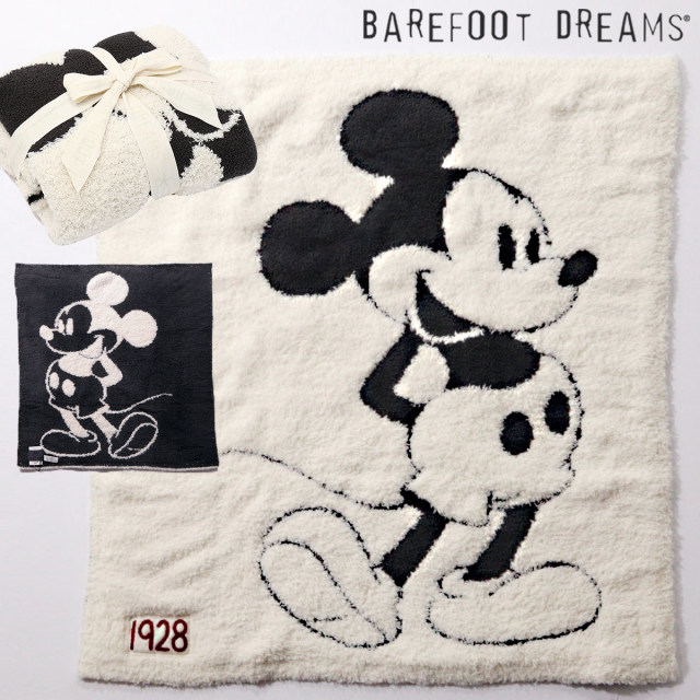 【40%OFF】BAREFOOT DREAMS ベアフットドリームズ 9940100067 D105 Classic Mickey Mouse / Baby Blanket ブランケット クリーム | 19SS