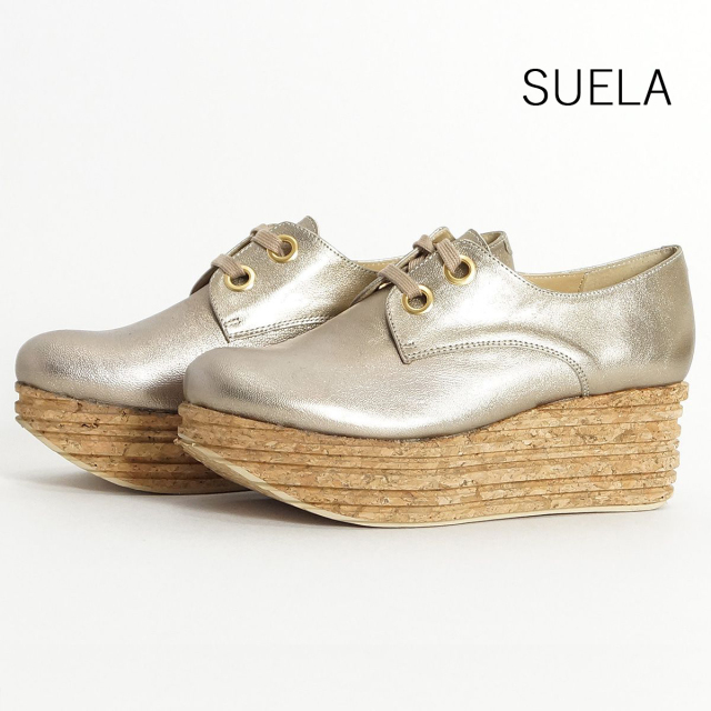 【60%OFF】SUELA スエラ ウェッジソールメタリックシューズ 6731 プラチナ   ゴールド 17SS