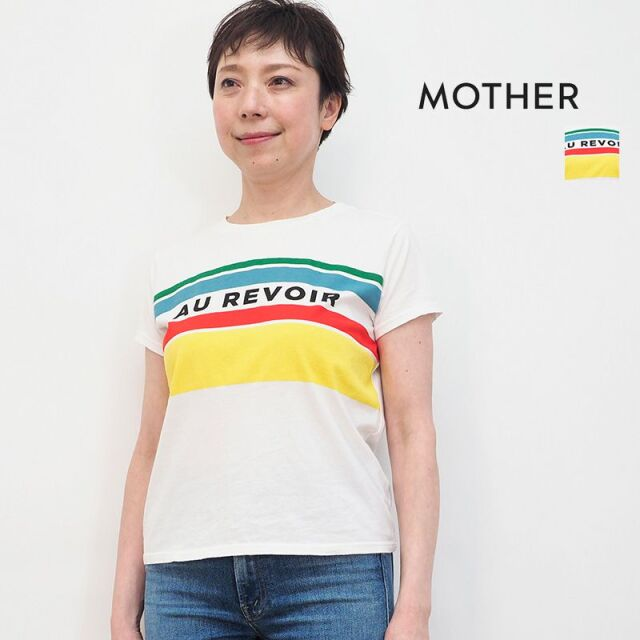 MOTHER マザー 8231-315 010White AU REVOIR プリントTシャツ カットソー THE BOXY GOODIE GOODIE | 21SS トップス 春夏