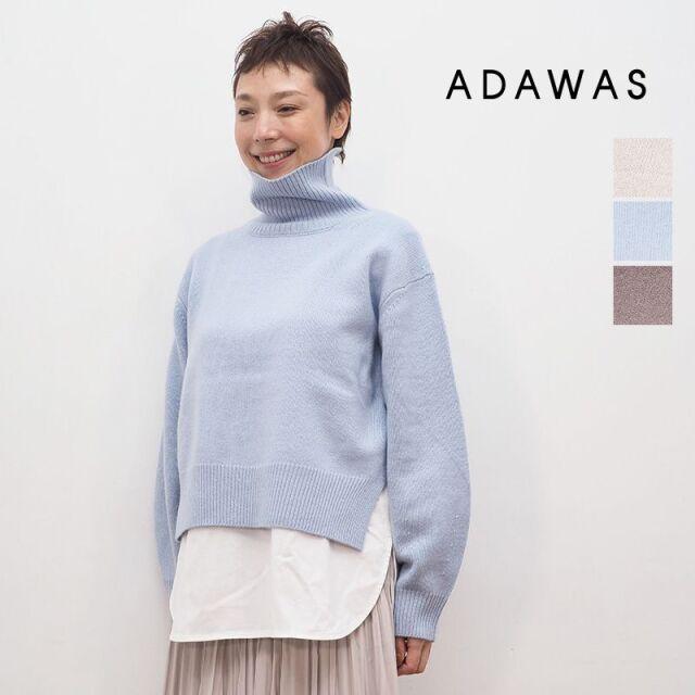 【20AW新作】ADAWAS アダワス adws-001-37 ウールカシミヤハイネックニットプルオーバー CSHMERE BRENDED HI-NECK   20AW トップス 秋冬