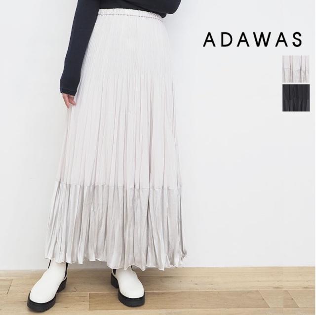 【21AW新作】ADAWAS アダワス ADWS-101-11 異素材切り替えプリーツスカート 2TONES PLEATS SKIRT   ボトムス 秋冬 21AW