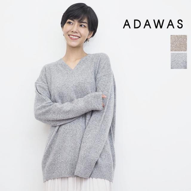 【21AW新作】ADAWAS アダワス ADWS-101-30S カシミヤ混Vネックニットプルオーバー セーター CASHMERE BLENDE V PO | トップス 秋冬 21AW