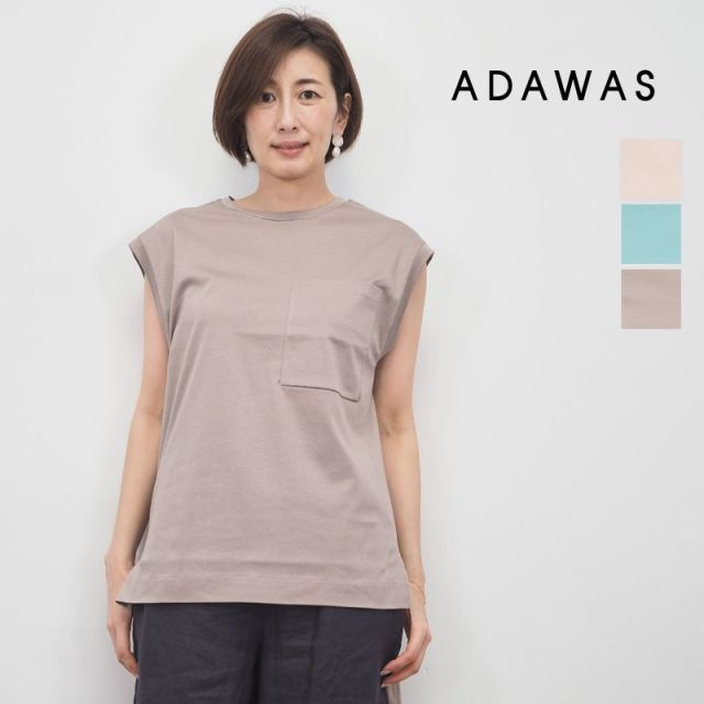 【20SS新作】ADAWAS アダワス ADWS-907-17A フレンチスリーブ カットソー プルオーバー Tシャツ FRENCH TEE | 20SS トップス 春夏