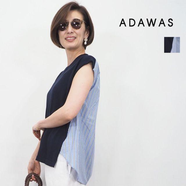【20SS新作】ADAWAS アダワス ADWS-910-03 異素材 シャツニットプルオーバー カットソー SHIRT KNIT TEE | 20SS トップス 春夏
