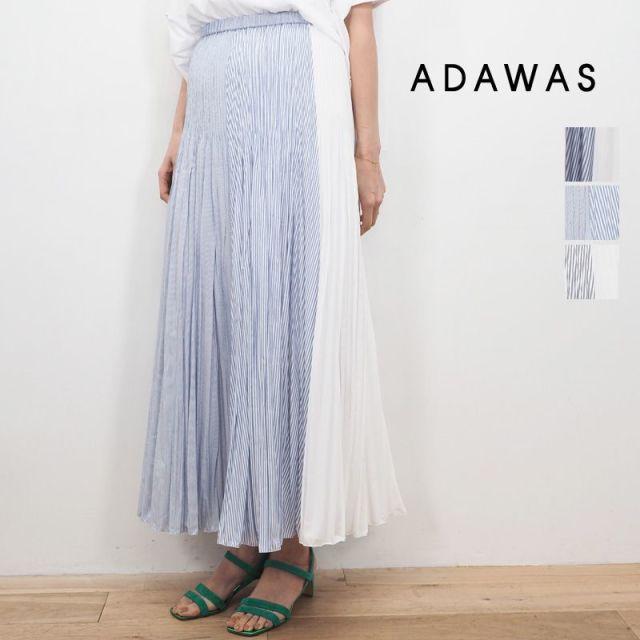 【20SS新作】ADAWAS アダワス ADWS-910-06 PLEATS SKIRT ストライププリーツフレアスカート | 20SS ボトムス 春夏