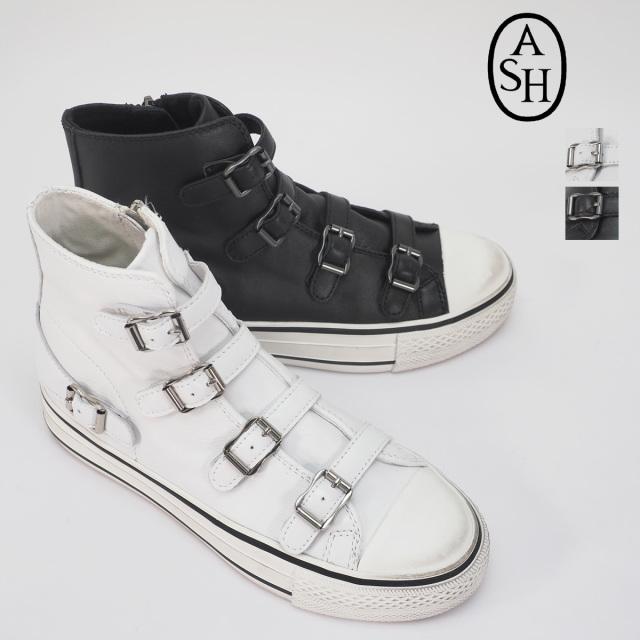 【19AW新作】ASH アッシュ VIRGIN 131034 ベルトデザインハイカットスニーカー ホワイト ブラック ジップ付き | シューズ 19AW