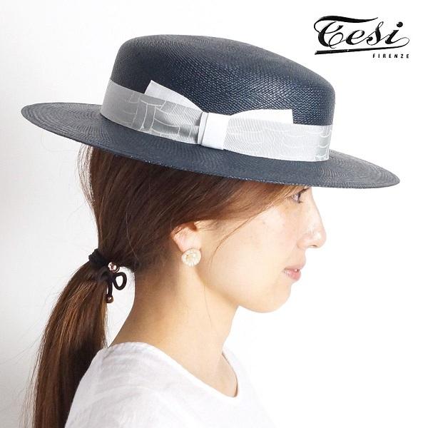 【40%OFF】【アプト別注】Tesi テシ パナマハット CANOTTO M ベージュ グレー | ストローハット カンカン帽 キャノチェ 17SS 帽子