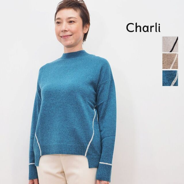 【40%OFF】CHARLI チャーリー 0822-2820 ウォッシャブルカシミヤ モックネック ラインニット | 20AW トップス 秋冬