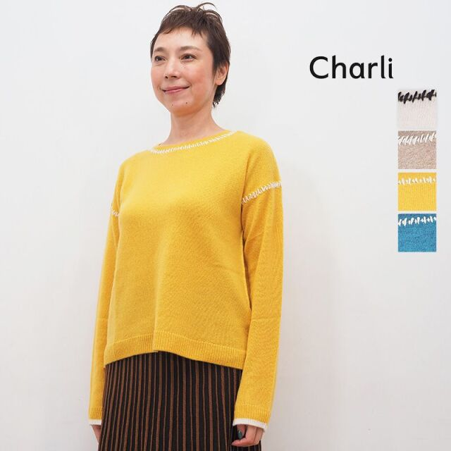 【20AW新作】CHARLI チャーリー 0822-2850 ウォッシャブルカシミヤ ステッチデザインニット   20AW トップス 秋冬