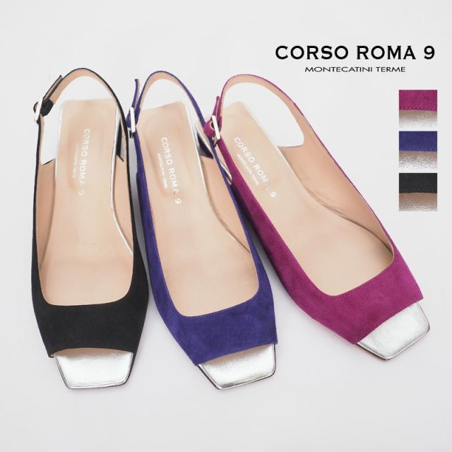 【30%OFF】CORSO ROMA9 コルソローマ corso-mi-14ch CAMOSCIO スエード×メタリックインソール バックベルトサンダル | 20SS シューズ 春夏
