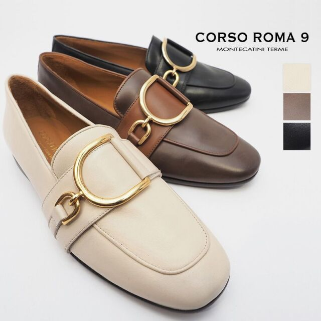 【40%OFF】CORSO ROMA9 コルソローマ SILVY206 ビッグバックルレザーコインローファー | 20AW シューズ 秋冬