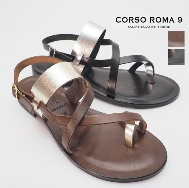 CORSO ROMA9 コルソローマ メタリック レザーフラットサンダル 09/A(VITTELO)