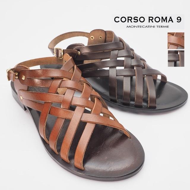 【20SS新作】CORSO ROMA9 コルソローマ メッシュレザーフラットサンダル 412(VITTELO)