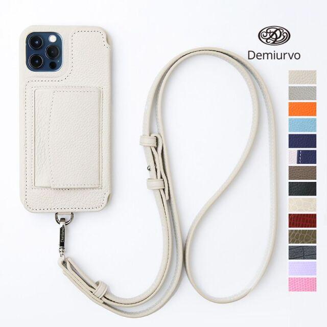 5/15販売開始【21SS新作】【 iPhone12Pro/12】Demiurvo デミウルーボ レザースマートフォンケース POCHE アイフォンケース アイフォーンケース 携帯ケース 首紐付き ストラップ付き コインケース付き 本革 ICカード  iPhone12Pro/iPhone12