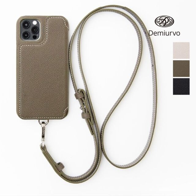 5/15販売開始【21SS新作】【 iPhone12Pro/12】Demiurvo デミウルーボ レザースマートフォンケース POCHE FLAT アイフォンケース アイフォーンケース 携帯ケース 首紐付き ストラップ付き 本革 ICカード iPhone12Pro/iPhone12