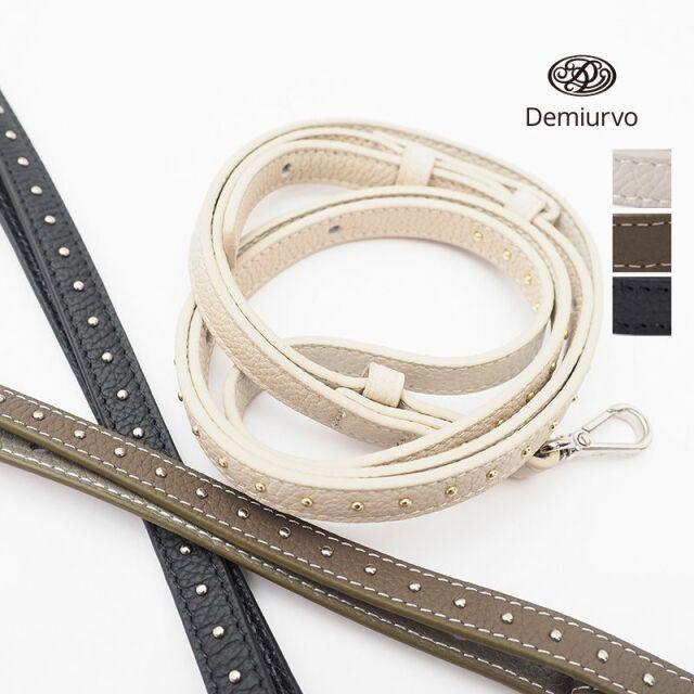 5/15販売開始【21SS新作】【 STRAP Studs】Demiurvo デミウルーボ レザースマートフォンストラップ スタッズ付 130cm  首紐 ネックストラップ 肩掛け 斜め掛け