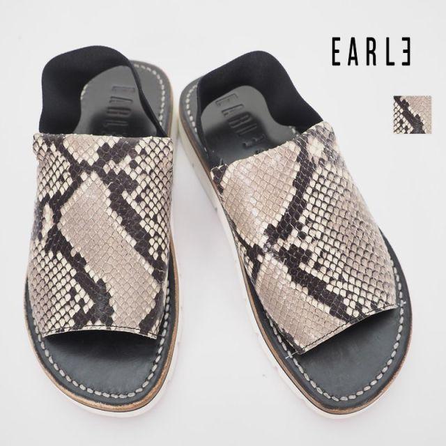 【2点以上で更に10%OFF】【40%OFF】EARLE アール ER0802 Back strao band sandals W パイソン型押し バックストラップレザーフラットサンダル  | 20SS シューズ 春夏