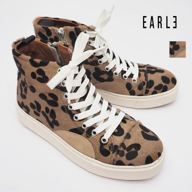 【20AW新作】EARLE アール ER0909  ハラコレザー ハイカットレースアップジップスニーカー レオパード Classc lace-up sneakers W | 20AW シューズ 秋冬