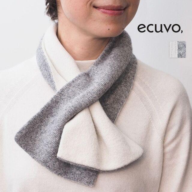 【20AW新作】ecuvo, エクボ  228-11 ニットショートマフラー ウール リバーシブル 2WAY ユニセックス サスティナブル | 定番 ファッショングッズ 秋冬