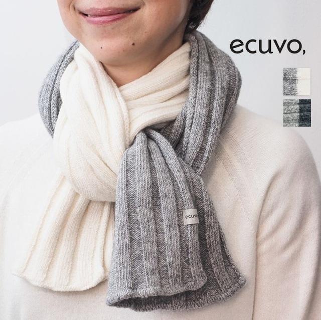 ecuvo, エクボ  228-21228-22  リブニットロングマフラー ウール バイカラー ユニセックス サスティナブル | 定番 ファッショングッズ 秋冬