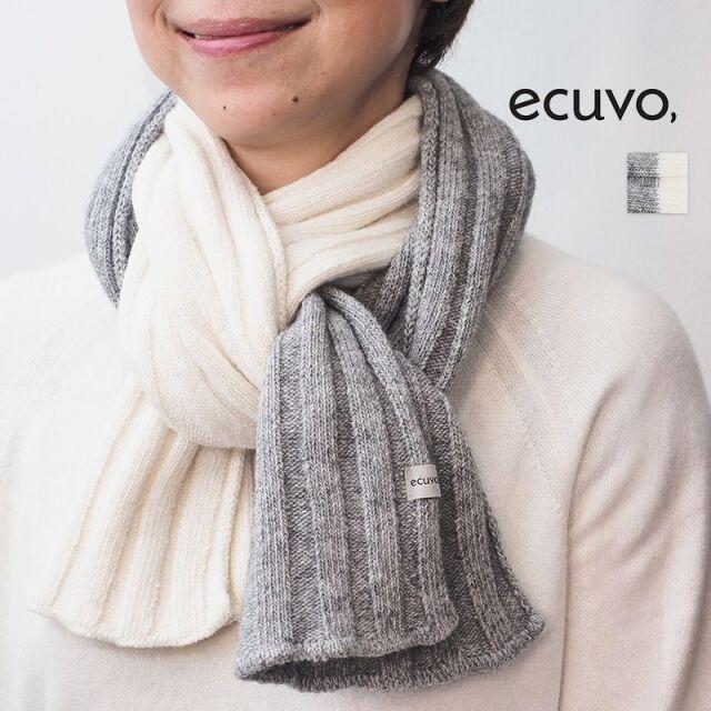 【20AW新作】ecuvo, エクボ  228-21 リブニットロングマフラー ウール バイカラー ユニセックス サスティナブル | 定番 ファッショングッズ 秋冬