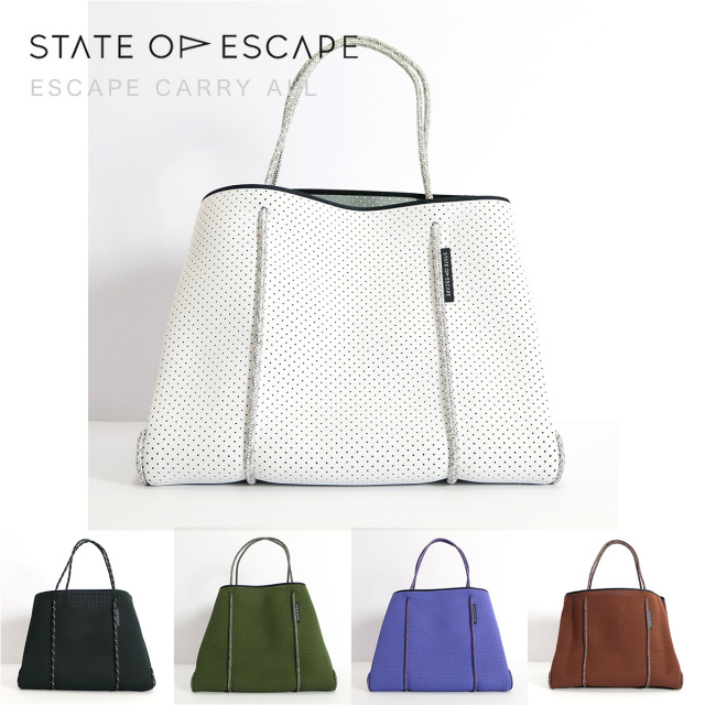 STATE OF ESCAPE ステイトオブエスケープ ESCAPE CARRYALL トートバッグ ブラック ホワイト カーキ パープル ブラウン|ビーチバッグ ジムバッグ ママバッグ 18SS/新作/送料無料