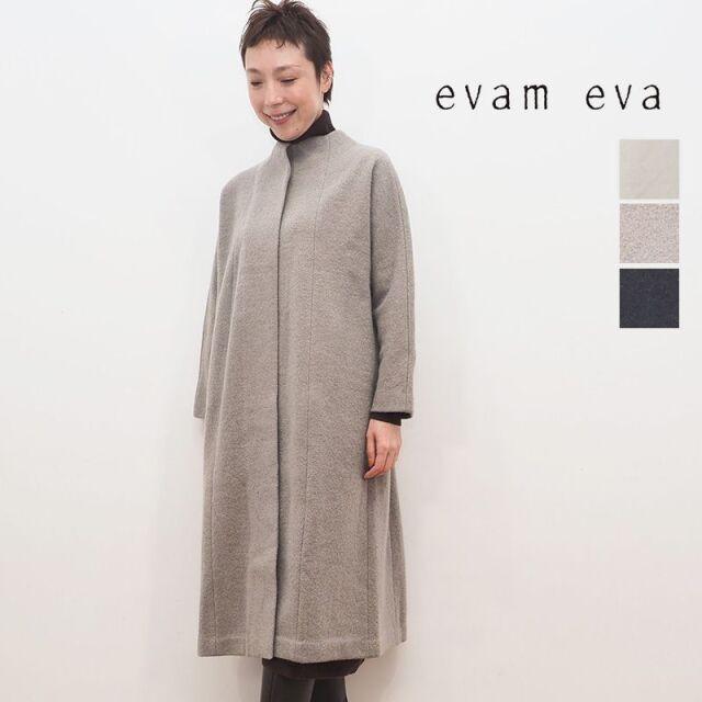 【20AW新作】evam eva エヴァムエヴァ E203K054 ノーカラー圧縮ウールロングコート press wool long coat | 20AW アウター 秋冬