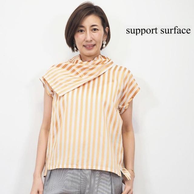 【40%OFF】support surface サポートサーフェス スカーフネック デザインカラー ストライプブラウス チュニック FCD 20S 234 DV0125 | 20SS トップス 春夏