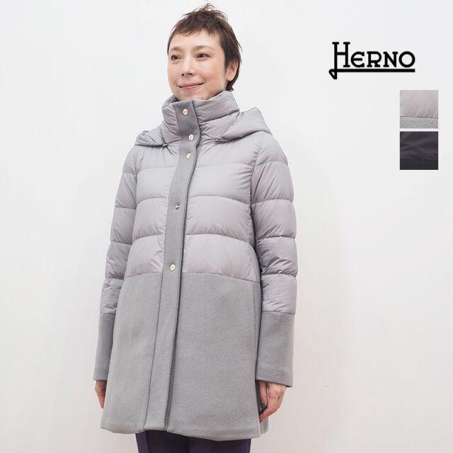 【正規品】HERNO ヘルノ PI1199D ウール切り替えミドルダウンジャケット スナップ | 20AW アウター 秋冬