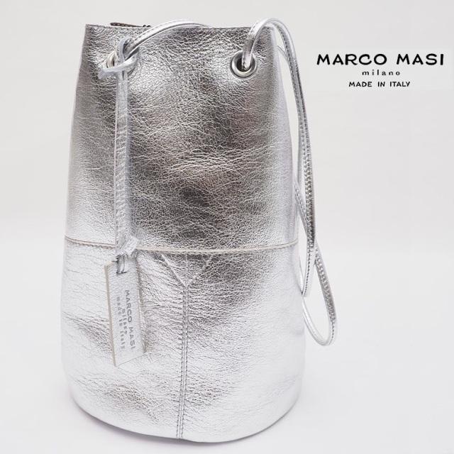 MARCO MASI マルコマージ 2836 メタリック/パイソン柄 レザー巾着バッグ 大 | 20AW バッグ 秋冬