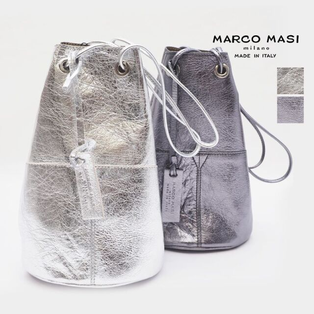 【20AW新作】MARCO MASI マルコマージ 3013 メタリックレザー巾着バッグ 小 | 20AW バッグ 秋冬