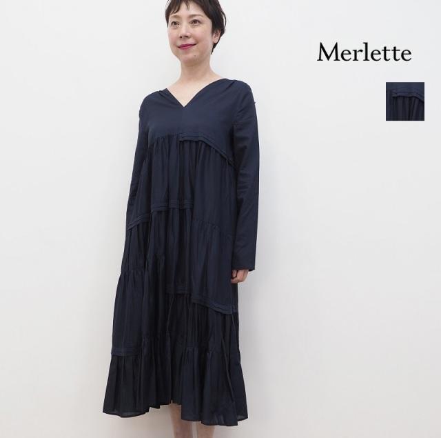 【21SS新作】Merlette マーレット 95N10L ACAPULCO Vネックロングスリーブティアードロングワンピース フリル 3310300168 | 春夏 21SS