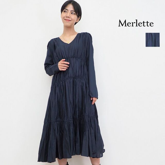 SOLD OUT【21AW新作】Merlette マーレット OPHELIA オーフェリア Vネック ティアードワンピース 3410300029 | 21AW 秋冬