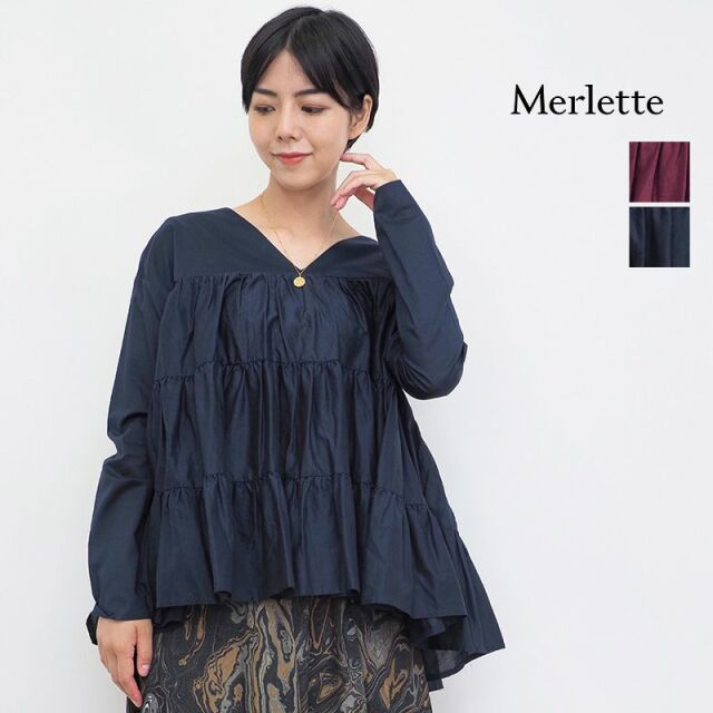 【21AW新作】Merlette マーレット SIDONIA シドーニア シルク混 Vネックティアードブラウス チュニック 3410700081 | 21AW トップス 秋冬
