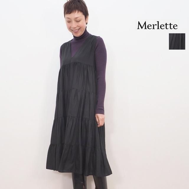 【期間限定販売】Merlette マーレット C55N20S CHELSEA ノースリーブVネックティアードコットンワンピース 9910300020