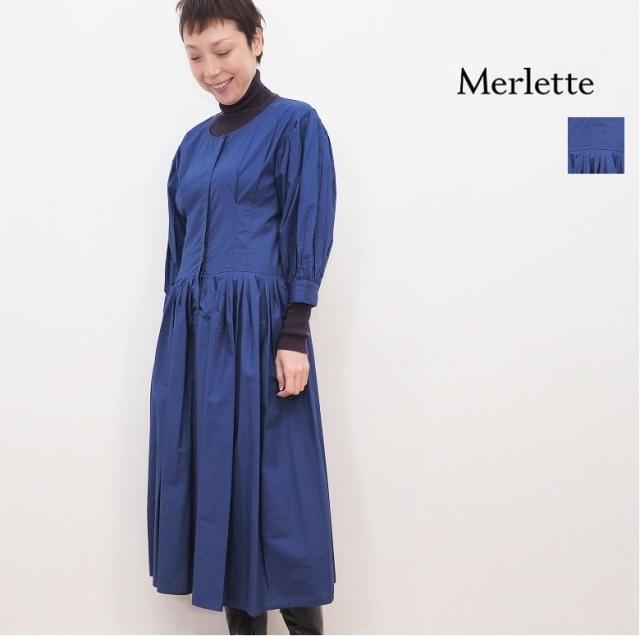 【期間限定販売】Merlette マーレット C85N39PO MONTAGUE パフスリーブ プリーツミディドレス ギャザーミニワンピース 3210300058