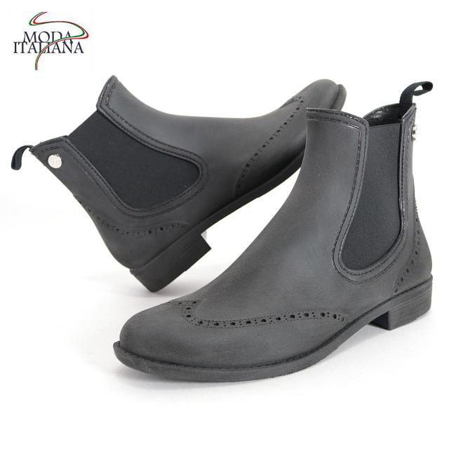 MODA ITALIANA モーダイタリアーナ ウィングチップ サイドゴアレインブーツ OXFORD BLUSH ブラック | 長靴 ゴム靴 ショートブーツ レディース 18SS/新作