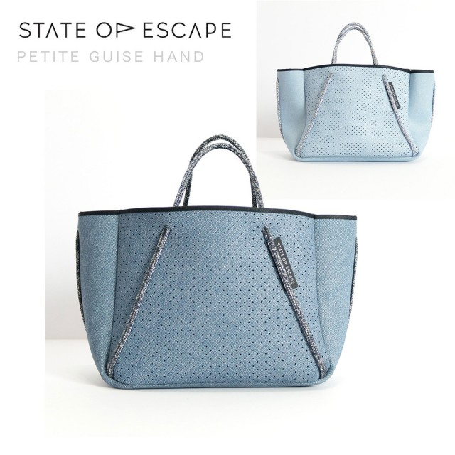 STATE OF ESCAPE ステイトオブエスケープ PETITE GUISE HAND デニムプリントミニトートバッグ ブルー ライトブルー |18SS/新作/送料無料