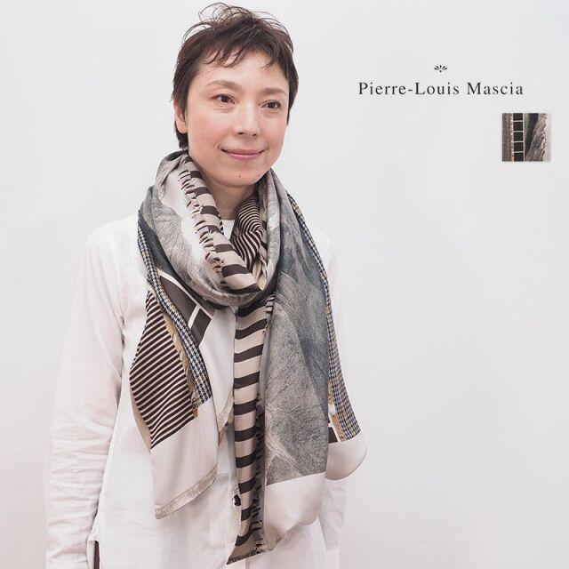 【20AW新作】PIERRE LOUIS MASCIA ピエールルイマシア 500823 ダブルフェイスストール シルク/モダールカシミヤ ガンクラブチェック 山脈 ALOEWON 65×190cm | 20AW ファッショングッズ 秋冬