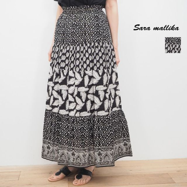 【20SS新作】Sara Mallika サラマリカ リーフプリント ギャザーロングスカート 020301336 L.PRINT GATHERSKIRT | 20SS ボトムス 春夏