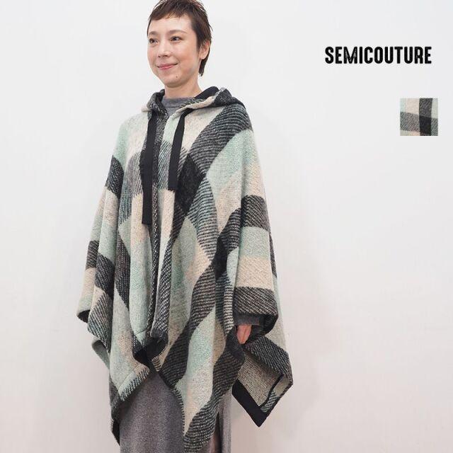 【20AW新作】SEMI COUTURE 0942-0803 モヘヤチェックポンチョ パーカー | 20AW アウター 秋冬